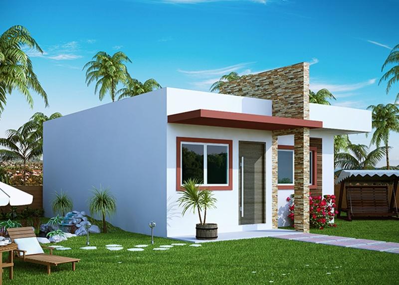 777151a210ded Projeto de Casa Pequena com 2 Quartos e varanda - Plantasdecasas.com