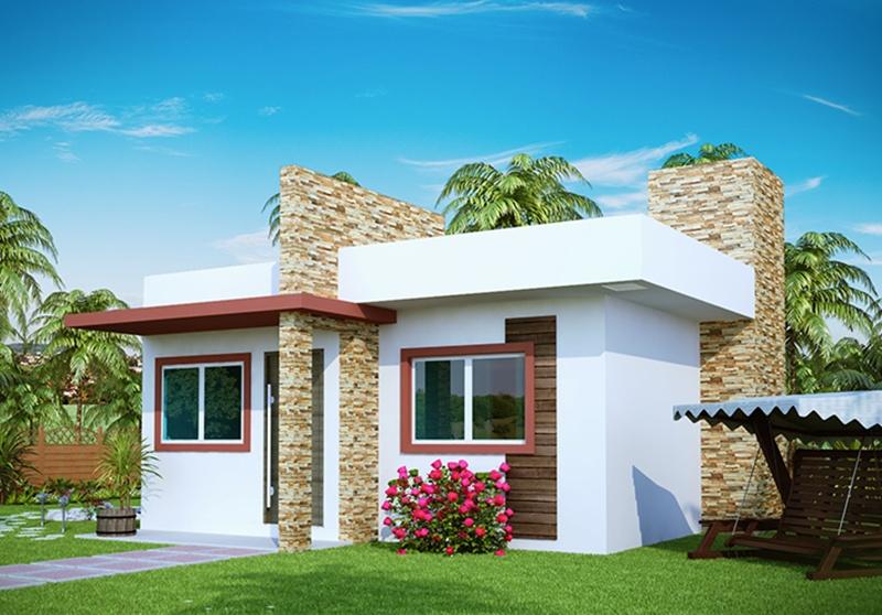 Projeto de casa pequena com 2 quartos e varanda for Fachadas de casas modernas 1 pavimento