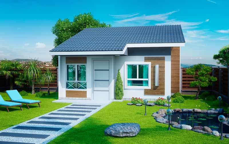 Planta de casa pequena e sofisticada com 2 quartos for Ver jardines de casas pequenas