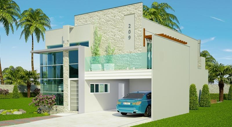 Projeto de sobrado jo o pessoa 2 vagas de garagem 1 for Fachadas de casas modernas 1 pavimento