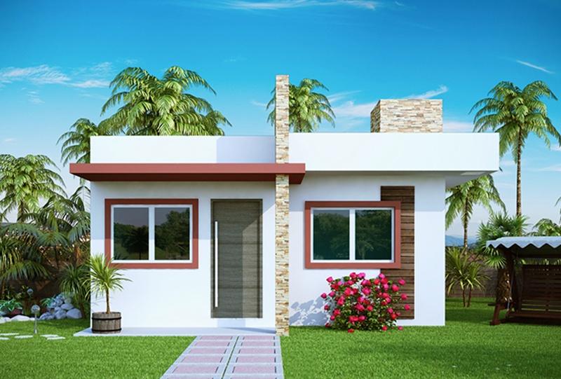 Projeto de casa pequena com 2 quartos e varanda for Casa moderna 2 andares 3 quartos