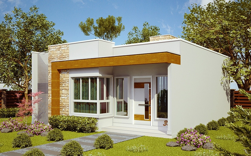 Planta de casa natal casa pequena e moderna com 2 quartos for Casa minimalista 6 x 12