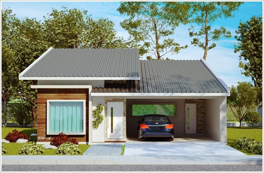 Resultado de imagem para casa terrea Fachada com garagem e telhado aparente