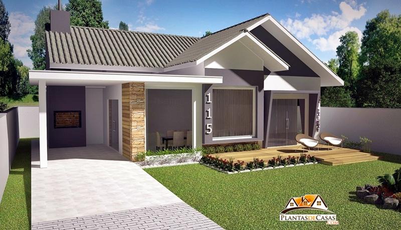 Projeto arquitet nico casa mau c d 115 r 550 00 for Fachadas de casas modernas de 2 quartos