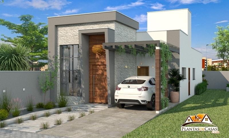 Planta de casa t rrea e moderna com 3 quartos for Casa moderna 1 11 2