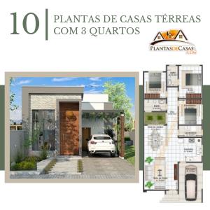 10 Plantas de casas térreas com 3 quartos e imagens de fachadas