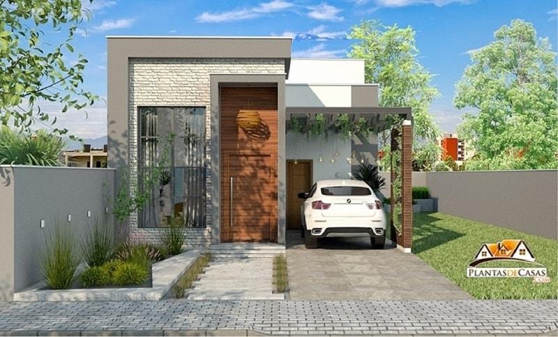 Planta de casa t rrea e moderna com 3 quartos for Casa moderna 60 m2